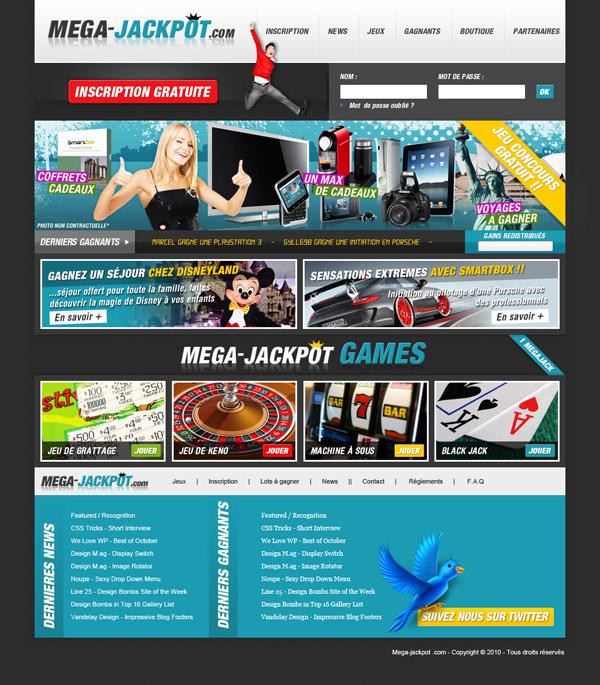 creation graphique homepage mega jackpot